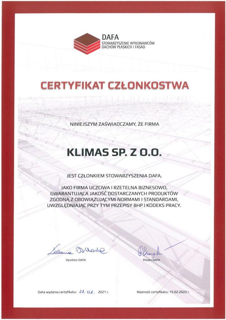 Certyfikat-Stowarzyszenia-DAFA-2021-dla-Klimas-Wkret-met-dlaProdukcji.pl